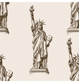 Liberty Statue hand drawn sketch seamless vector image