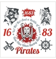 Pirate themed design elements - set vector image