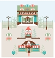 Restaurant and Cafe Set with Park vector image