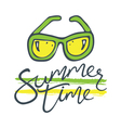 summer time sunglasses green yellow vector image