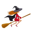 Cute redhead witch flying on a broom vector image