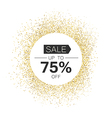 White circle with Sale typography in gold sparkles vector image
