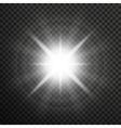White glowing light burst with transparent vector image vector image