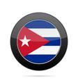 Flag of Cuba Shiny black round button vector image