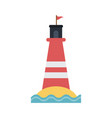 striped lighthouse icon image vector image