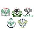 Tennis sport symbols and emblems vector image vector image