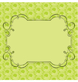 ornate frame on green retro background vector image vector image