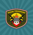 war emblem Military logo Skull wearing a helmet vector image
