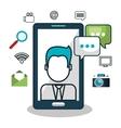 avatar smartphone social media design isolated vector image
