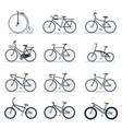Bicycle Types Objects Icons Set vector image