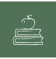 Books and apple on the top icon drawn in chalk vector image