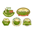 Farm fresh emblems set vector image