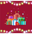 garlands and giftboxes on vector image