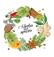 winter circle template with spices herbs vector image