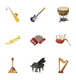 Musical tools icons set cartoon style vector image