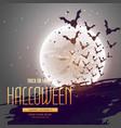 bats flying in front of moon halloween background vector image
