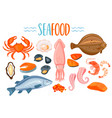 set of seafod icons in cartoon style vector image