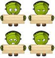 Monster Holding A Wooden Board vector image vector image