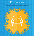 car icon Floral flat design on a blue abstract vector image
