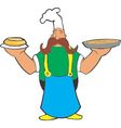 Cartoon cook with pizza and pie in the hands vector image