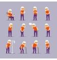 Elderly woman sick icons vector image
