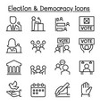 election democracy icon set in thin line style vector image