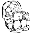 Fat man with a remote control vector image