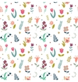 Seamless cute pattern of flowers vector image