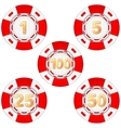 Set of gambling chips rated vector image