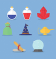 Set of magic icons vector image