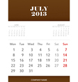 July 2013 calendar design vector image