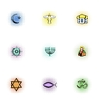 Faith icons set pop-art style vector image