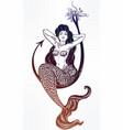mermaid girl sitting on fishing hook artwork vector image