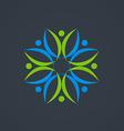 circle people teamwork decorative logo vector image