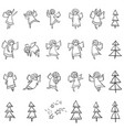 Cute icons set with angels dansing and flying vector image