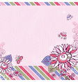 hand draw flowers and butterfly on pink background vector image