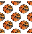 Seamless cartoon basketball ball repeating vector image