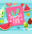 summer time lettering on blue wooden background vector image