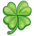 Doodle four leaf clover lucky vector image