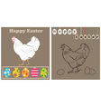 White chicken and easter eggs vector image