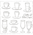 Set of Coffee and Tea Cups Decorative icons set vector image