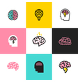 Icons and logos of brain brainstorming idea vector image vector image