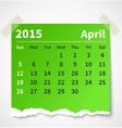 Calendar april 2015 colorful torn paper vector image