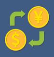 Currency exchange Dollar and YenYuan vector image