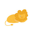 cute fluffy lion lies and wink by eye cartoon vector image