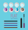 Flat eye makeup set vector image