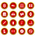 gym icon red circle set vector image