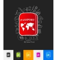 passport paper sticker with hand drawn elements vector image