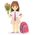 schoolgirl with backpack and bouquet of flowers vector image