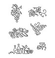 simple set of wine icons line art includes such vector image